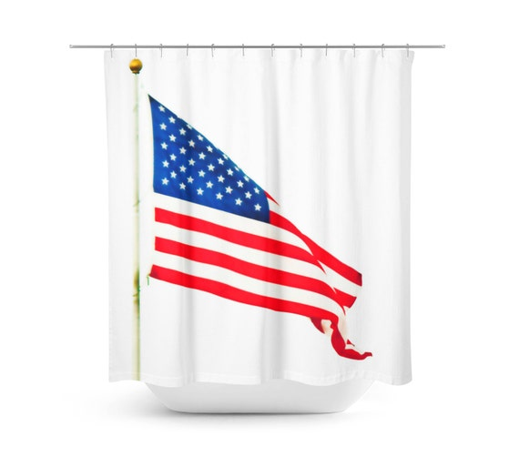 Art Shower Curtain Red White And Blue American Home Decor