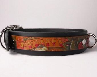 Personalized Dog Collar Tooled Leather Dog Collar Tattoo Dog Collar Leather Pitbull Collar Personalized Dog Collar Personalized Tooled