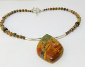 Picasso/Red Creek Jasper and Silver Necklace