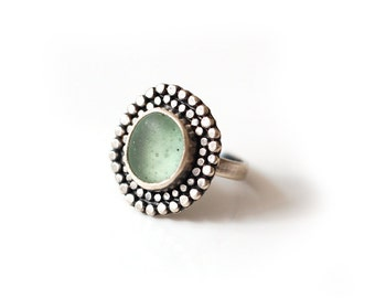 Pale Green English Sea Glass Ring Sterling Silver Size Seven and Up