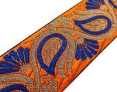 5.0 Cm Wide Jacquard Ribbon Indian Sari Border lace orange Trim Designer Sewing Trim Decorative Ribbon Trimming Craft Trim By 1 Yard RT937E