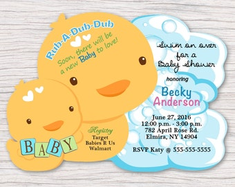 Duck Baby Shower Invitations, Rubber Duck Invitations, Rubber Ducky, Custom Yellow Duck Invitation, Birthday Duck Invitations, Rubber Ducky