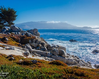 Pebble Beach Rocks, California Photography, Brown and Blue Home Decor, Pebble Beach Photo, California Photo, California Cliff, Nature
