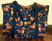 Tote Dachshunds on Navy