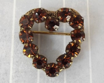 """Vintage Small 1"""" Heart Pin Pendant, Brown Rhinestones Heart Brooch, Sweetheart Jewelry, Valentine Gift, Valentines Day Pin"""