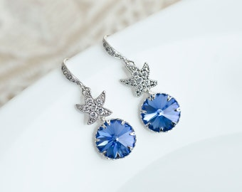 Blue Sapphire Starfish Earrings,Bridal Earrings,Sapphire Earrings,Bridesmaid Earrings,Swarovski Crystal and Cubic Zirconia Starfish Earrings