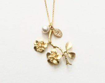 Personalized Cherry Blossom Pearl Necklace in Gold-  dainty, spring, bridal bridesmaids jewelry, also available in silver.