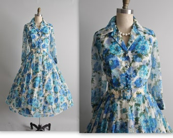 50's Floral Dress // Vintage 1950's Floral Print Chiffon Shirtwaist Garden Party Cocktail Dress M L