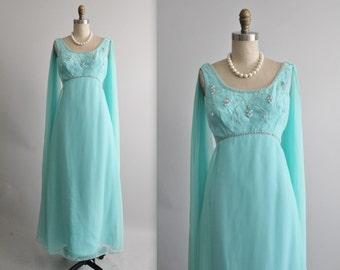 60's Beaded Chiffon Gown // Vintage 1960's Beaded Aqua Chiffon Goddess Empire Evening Gown Maxi Dress S