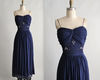 40's Beaded Dress // Vintage 1940's Navy Draped Chiffon Soutache Evening Gown M