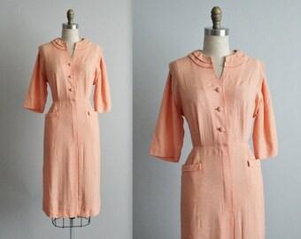STOREWIDE SALE 50's Shirtwaist Dress // Vintage 1950's Orange Gingham Cotton Fitted Casual Shirtwaist Dress L