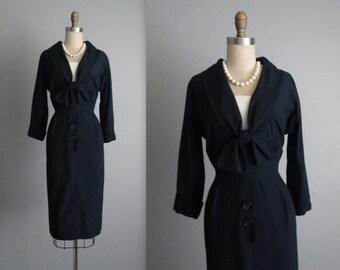 STOREWIDE SALE 50's Secretary Dress // Vintage 1950's Navy Rayon Fitted Secretary Day Dress S