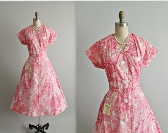 STOREWIDE SALE 50's Unworn Shirtwaist Dress // Vintage 1950's Pink Floral Print Cotton Garden Party Dress Unworn Deadstock Tags NWT L