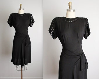 40's Sequin Dress // Vintage 1940's Sequined Black Rayon Draped Swing Dress XS