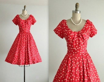 50's Silk Dress // Vintage 1950's Herbert Sondheim Silk Dotted Cocktail Party Dress S
