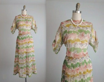 40's Floral Dress // Vintage 1940's Sheer Floral Print Nylon Pleated Garden Party Full Summer Day Dress L XL