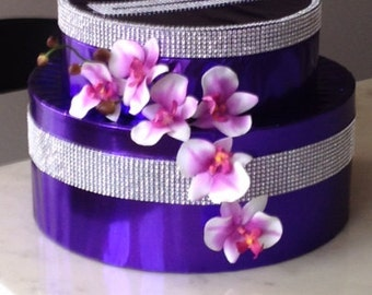 Wedding Purple Card Box, Purple Silver Two Tier Money Holder, wedding gift, gift idea