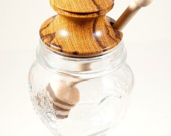Honey jar with hardwood lid and dipper
