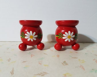 Vintage Wooden Candle Holders Made in Sweden Sweden Candle Holders Red