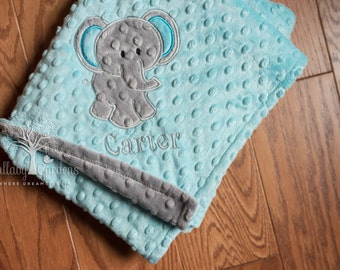 Elephant Minky Baby Blanket - Personalized, choice of colors