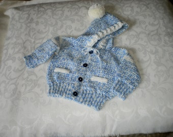 Blue and White Boys Crocheted Hoodie Sweater in 12 Months