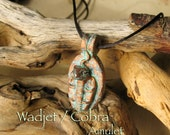 Uraeus Cobra Amulet - Wadjet as Protector of Ra - Divine Protection & Enlightenment - Handcrafted Clay Pendant - Aged Copper Patina Finish