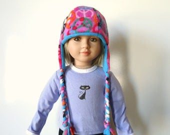 Peace Signs Reversible Hat Pink Lavender Turquoise fleece braids fits 23 inch Doll