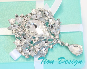 Swarovski Vintage Dangle brooch for Bridal, Weddings and Formals at Discounted Prices for Sale BP3901C