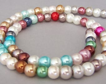 6mm multicolor glass pearl mix, 16 inch strand, high luster glass pearls