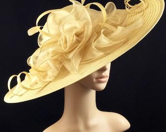 Gold Kentucky Derby Hat,Derby Hat,Dress Hat Wedding Hat Wide Brim BLACK Hat Tea Party Hat Ascot
