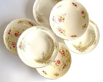 Mismatched China, Dessert Bowls, Royal Swan, Dorset Staffordshire, Cereal Bowls, Pretty Floral, English China, Barratts England, 1930s - 40s