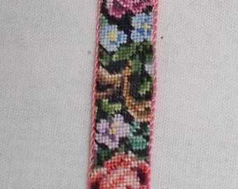 Dollhouse Miniature Bell Pull made using genuine Antique Petit Point (ref3)