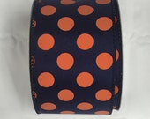 2.5 Inch Navy Blue Orange Dot Ribbon 224085-1061, Wired Ribbon, Deco Mesh Supplies