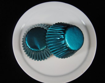 Teal Foil Mini Cupcake Liners, Mini Baking Cups, Mini Muffin Papers, Candy Cups, Weddings, Bonbon Papers, Truffle Cups - QTY. 20