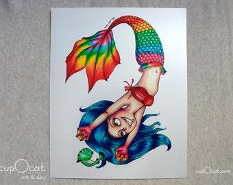 Rainbow Mermaid Artwork - 8x10 photographic print (Metallic Paper)