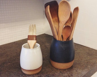 Dipped Kitchen Utensil Holder with Raw Clay Bottom