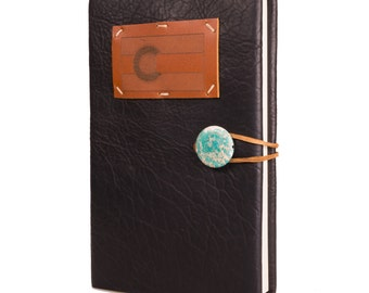"Midnight Espresso Leather Journal with Colorado Flag 5.5"" x 8.5"""