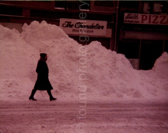 Vintage Photo, Woman Walking in Snow, Huge Pile of Snow, Color Photo, Snapshot, Found Photo, Old Photo, Vernacular Photo  *AUGUSTINE0685