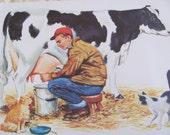 "Original Vintage School Classroom Poster Print - Circa 1966 - Farm Animals Cows Milking - 9"" x 12"""