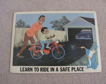 Learn to Ride in a safe Place - Disney Study Print Poster - Circa 1967