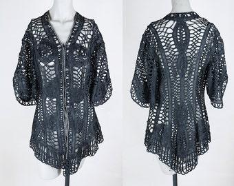 Vintage Edwardian Jacket / Antique 1900s Black Tape Lace Sheer Jacket S M