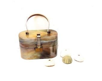1950s 1960s Bronze Swirl Acetate Purse, Bronze Swirl Lucite Handbag, 1950s Faux Tortoiseshell Handbag