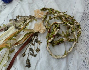 Woodland wedding - Hand fasting cord- green, ivory and gold, satin, lace, chiffon - with charms and hand stitched flowers