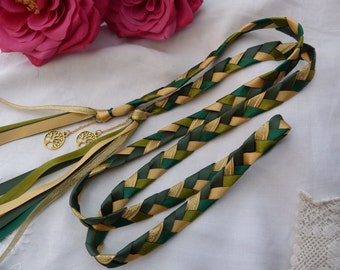 Tree of life Handfasting cord- green and gold with charms