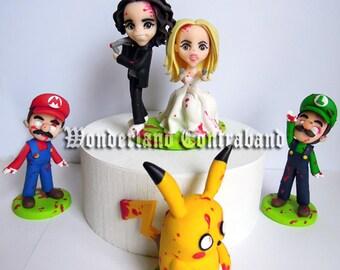 "Standard ""3 Retro Gamer Zombie Wedding Cake Topper - ""3 inches Standard Size - ORIGINAL OOAK Miniature Sculptures - Decor"