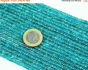 VALENTINE SALE 55% Natural Neon Blue Apatite Faceted Roundel Beads Strand, 14 inches, 4-5.5mm, SKU3894/A