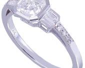 GIA G-VS2 14K White Gold Asscher Cut Diamond Engagement Ring Bezel Set 1.40ct