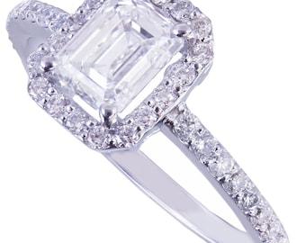 GIA G-VS2 14k white gold emerald cut diamond engagement ring halo prong 1.50ct