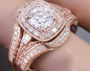 14k Rose Gold Round Cut Diamond Engagement Ring And Bands Halo Filigree 2.50ctw G-SI1 EGL USA