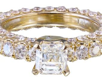 14K Yellow Gold Asscher Cut Diamond Engagement Ring Prong 2.90ctw H-VS2 EGL USA